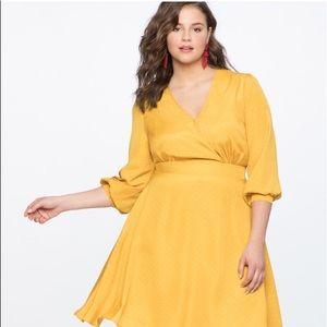 NWT Eloquii yellow and white polka dot dress